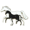 "Lapel Pin ""Mare and Foal"" white & black"