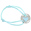 "Satin Bracelet ""Heart Horses"", blue"