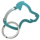 "Aluminium Snap Hook ""Dog Head"", turquoise"